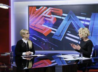 Юлія Тимошенко під час ефіру телеканалі «NewsOne»