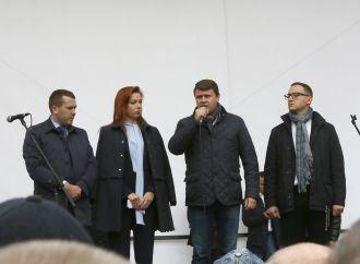 «Батьківщина» підтримала вимоги людей, які вийшли до парламенту на мирну акцію
