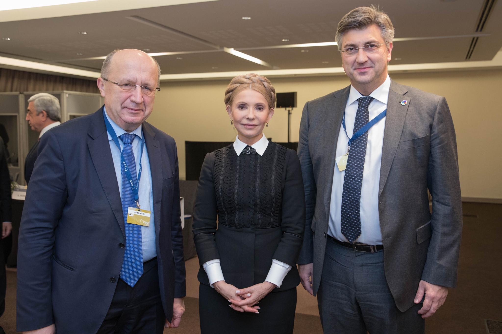 Колишній прем'єр-міністр Литви Андрюс Кубілюс, Юлія Тимошенко та прем'єр-міністр Хорватії Андрій Пленкович (Фото: Flickr European People's Party)