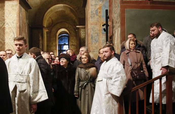 Юлія Тимошенко взяла участь у різдвяній літургії у Софії Київський, 07.01.2019